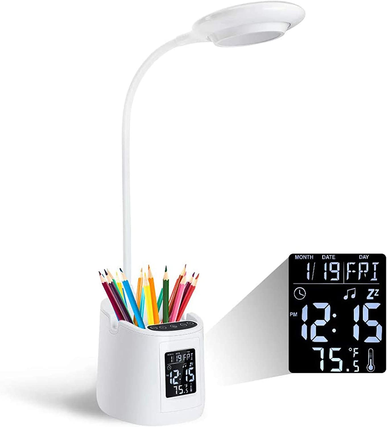 Desk Lamp for Kids, Home Office Desk Light with Clock Thermometer, LED Desk Lamp with Pencil Holder and Phone Bracket 3 Dimmable Brightness Touch Control Battery Powered Lamp for Boys Girls Learning