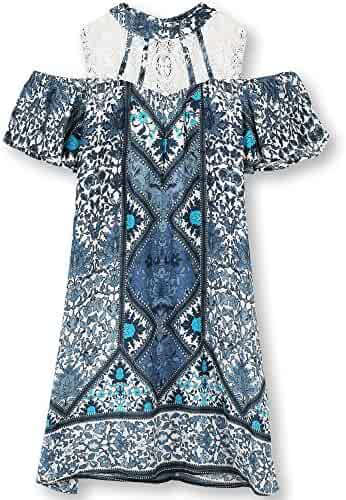 Speechless Big Girls' Printed Lace Illusion Neck Cold Shoulder Dress