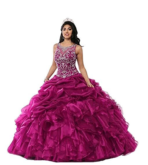 Womens Crystals Puffy Organza Long Quinceanera Prom Dresses Plus Size Fuchsia 2
