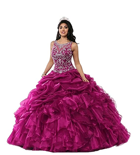 FWVR Women\'s Crystals Puffy Organza Long Quinceanera Prom ...