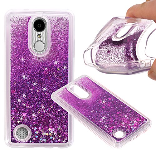 LG Aristo (MS210) / LG LV3 / LG K8 2017 Cover Case, NOKEA Soft TPU Flowing Liquid Floating Luxury Bling Glitter Sparkle Case Cover Fashion Design for LG V3/MS210 (Purple) (Phone Cover Lg 4g)