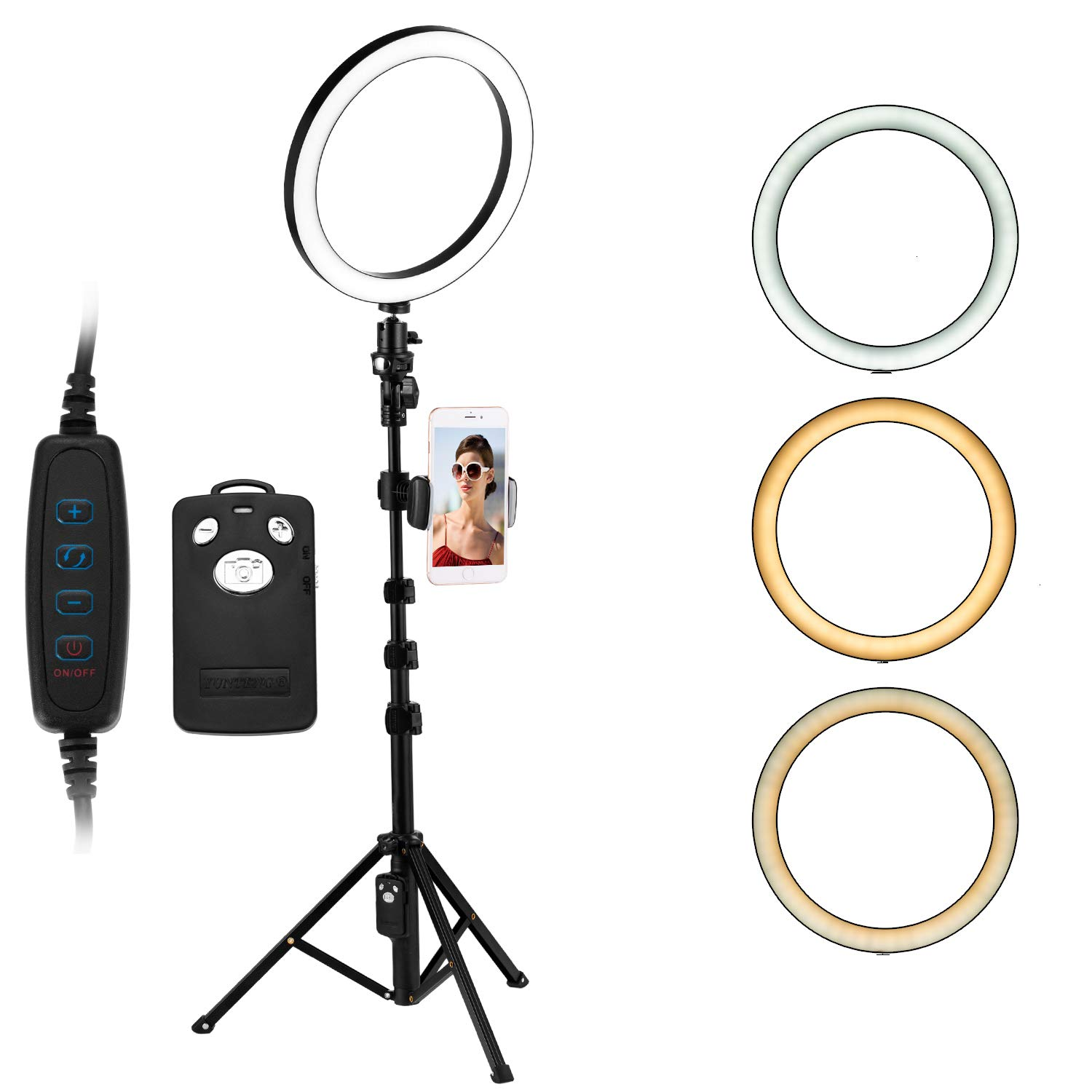 Deeteck 10 Inch Selfie Ring Light with Adjustable Tripod Stand,Dimmable Beauty Light with Phone Holder,LED Camera 360 Degree Ring Lights Kit Photography Lighting,for Makeup,Youtube Video,Live Stream by Deeteck