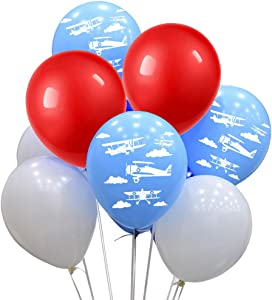 Propeller Airplane Print Balloons with White Red Blue Latex Balloons 80 Count