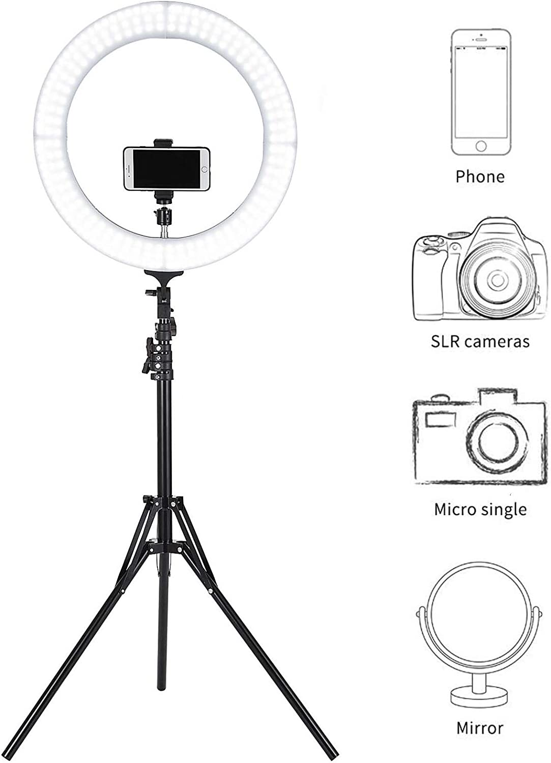Happybuy LED Dimmable Ring Light 19inch Ring Light with Stand Adjustable Color Temperature 2700K-5500K Diva Ring Light for Portrait YouTube Video Vlog and Makeup