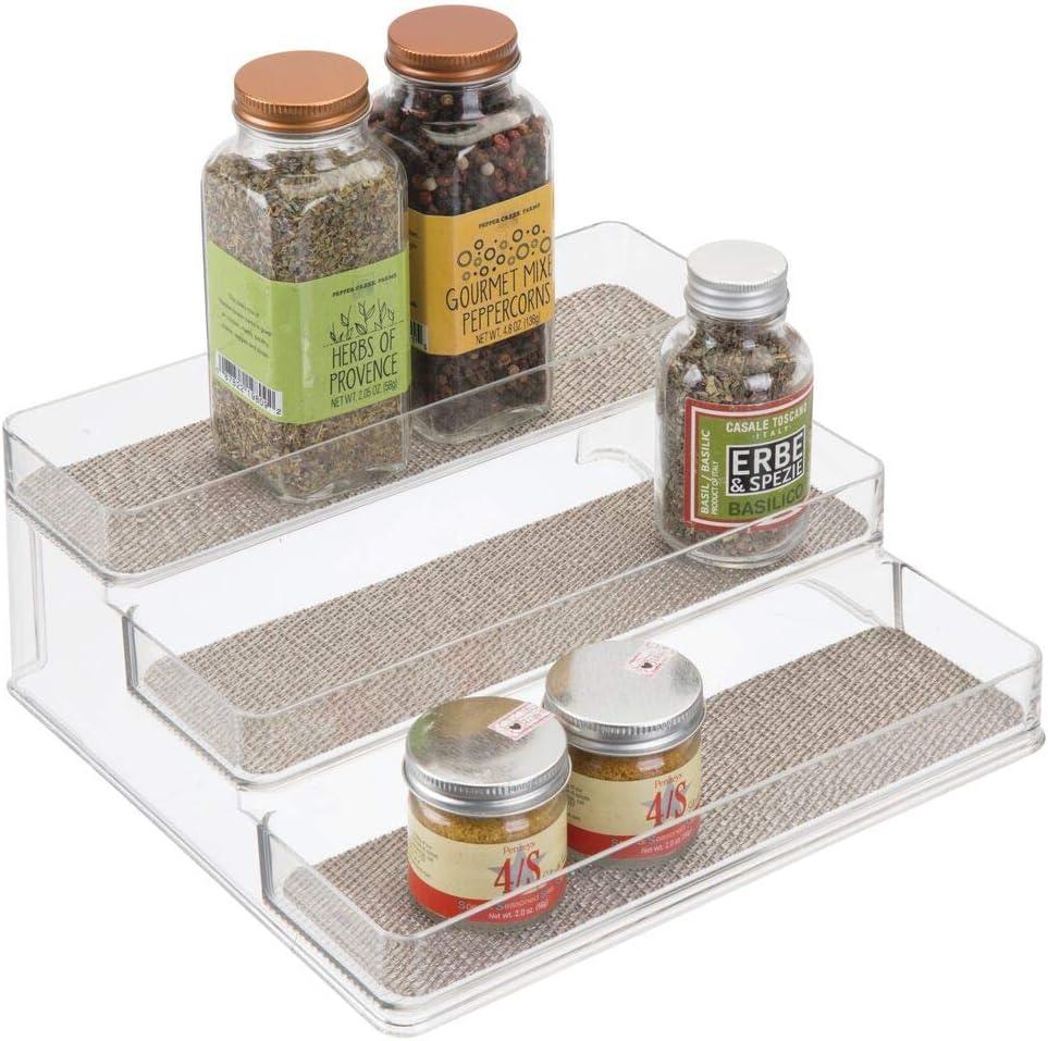 mDesign Estantería para botes de especias – práctico accesorio de cocina para organizar especias – Especiero con 3 niveles – Color: transparente/metálico