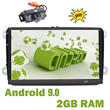 doble Din GPS estéreo 9 pulgadas,sistema Android 9.0,2GB RAM 16GB ROM coche USB FM AM RDS auto radio Bluetooth, para Volkswagen Golf 6.0 Polo Jetta ...