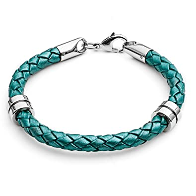 Tribal Steel 19.5cm Jade Coloured Leather Bracelet for Women with Rondel Charms BwtNF6