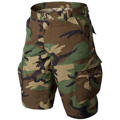 US BERMUDA PREWASH shorts Army woodland camouflage Hose kurz L Large Herren Bekleidung