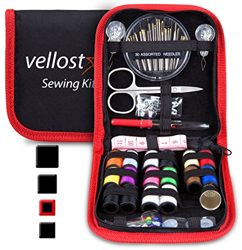 Hand Sewing Buttons - SEWING KIT, Tackle any Fashion Emergency - Clothing Repairs at Home & in the Office. Highly-Rated Mini Sew Kit for Travel Trips. Mending Supplies & Accessories (Black&Red-Trim, Pack of 1)