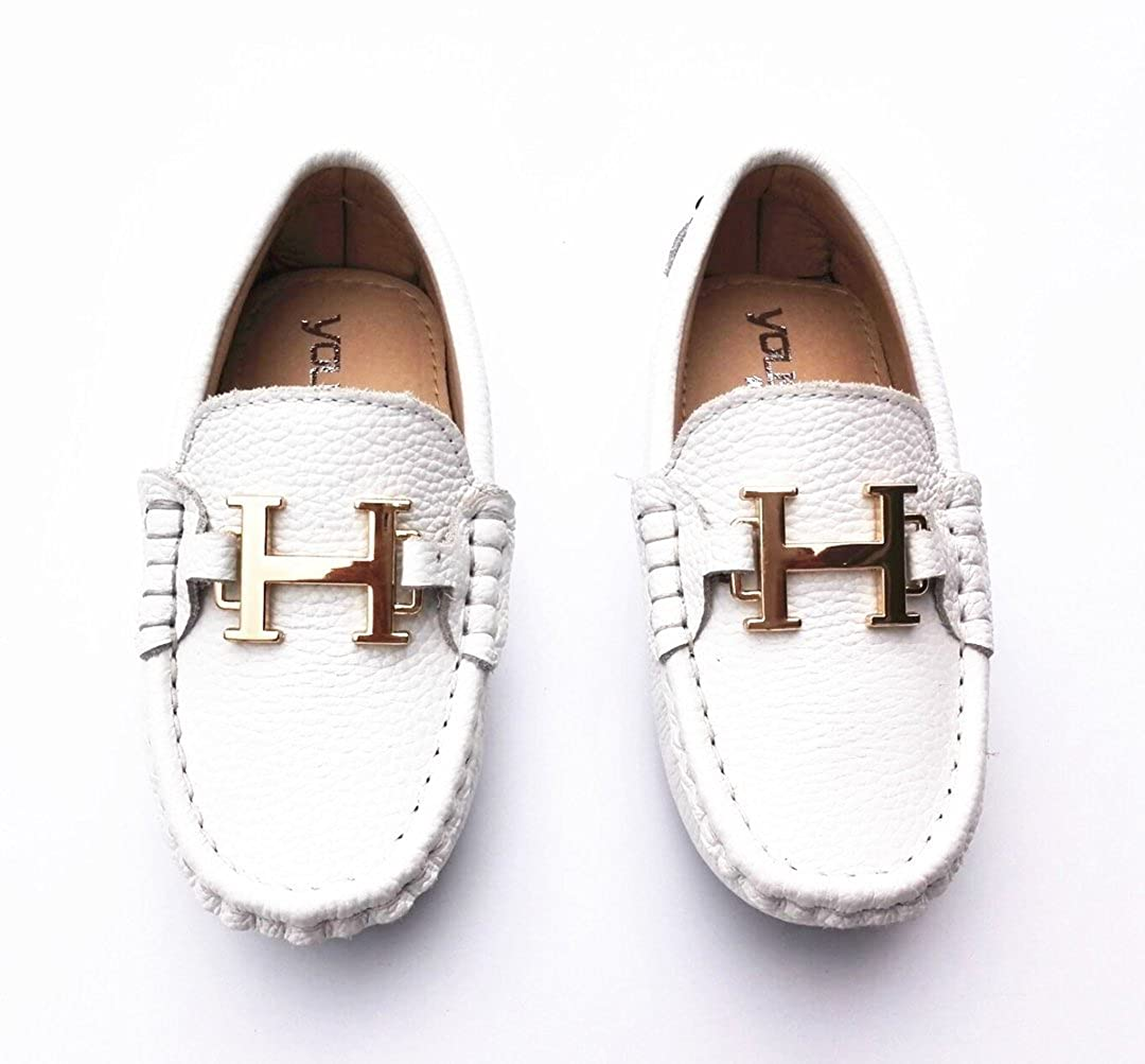 TDA Boys Girls Fashion Breathable Pure Colour Slip On White Leather Loafers Boat Shoes