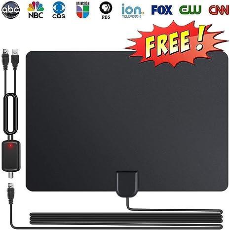 Antena HDTV, Antena de TV Digital para Interiores de 80 Millas con Amplificador de señal de