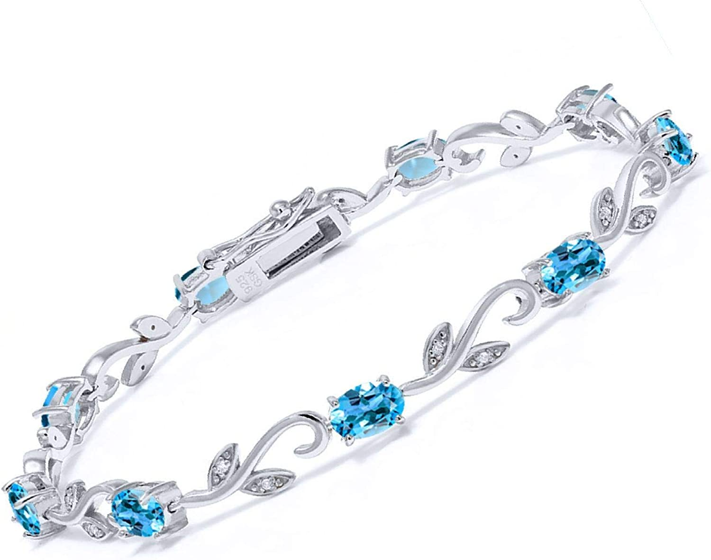 Vintage Blue Topaz Bracelet 925 Sterling Silver 7.5 inch Tennis