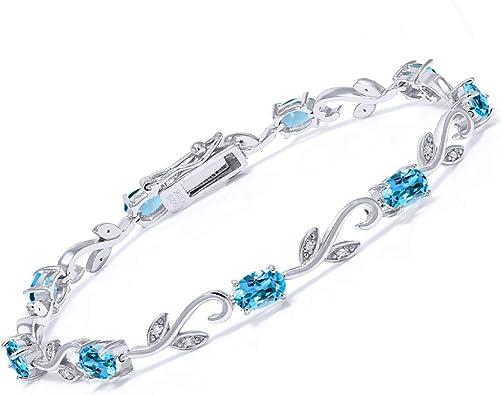 Elegante Plata Esterlina 925 Piedra Oval esmeralda simuladas y brazalete de diamantes