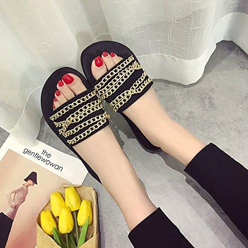 pantofole catena oro scarpe da spessore spiaggia Alla le 3cm 35 Donna pendenza di AJUNR e selvagge Moda Da con Sandali 38 fqfwY4