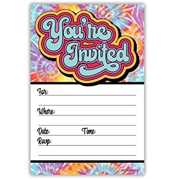 Hippie Tie Dye Invitations 20 Count With Envelopes