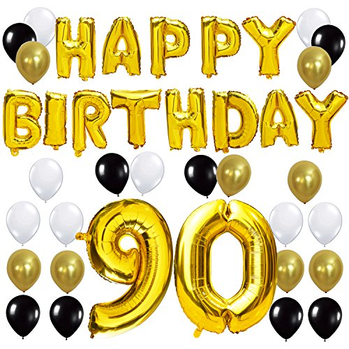 KUNGYO 90TH Birthday Party Decorations Kit - Happy Birthday Balloon Banner, Number