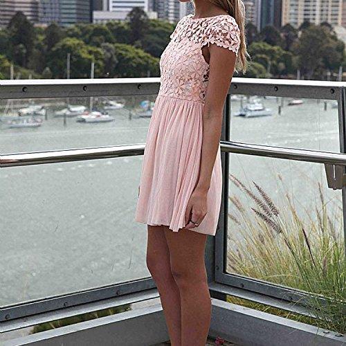 TOOGOO(R) Nouvelle mode Mini robe de crochet dentelle florale Robe en mousseline de soie pour femme Rose XL
