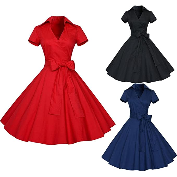 Vintage Dresses, Woman 50S 60S Retro Casual Housewife Party Ball Dress Ladies Plain Bandage Swing Midi Dresses: Amazon.co.uk: Sports & Outdoors