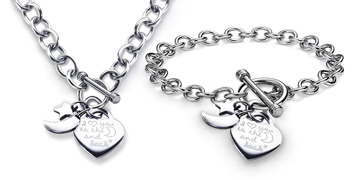 Charm Bracelet & Necklace Set I Love You to the Moon and Back Heart Toggle Stainless Steel B015K4Z1TK_US