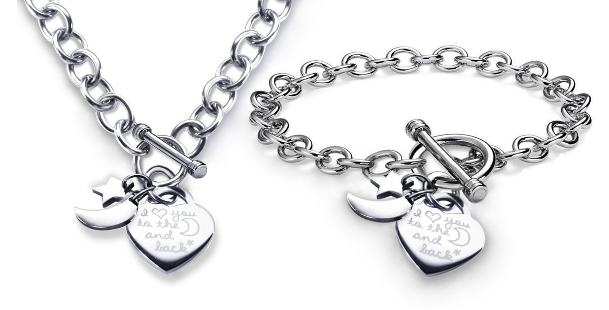 Charm Bracelet & Necklace Set I Love You to the Moon and Back Heart Toggle Stainless Steel