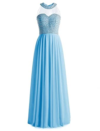 TANGFUTI Womens Beaded See Through Long Prom Dress Chiffon Formal Gown 064BL-US2