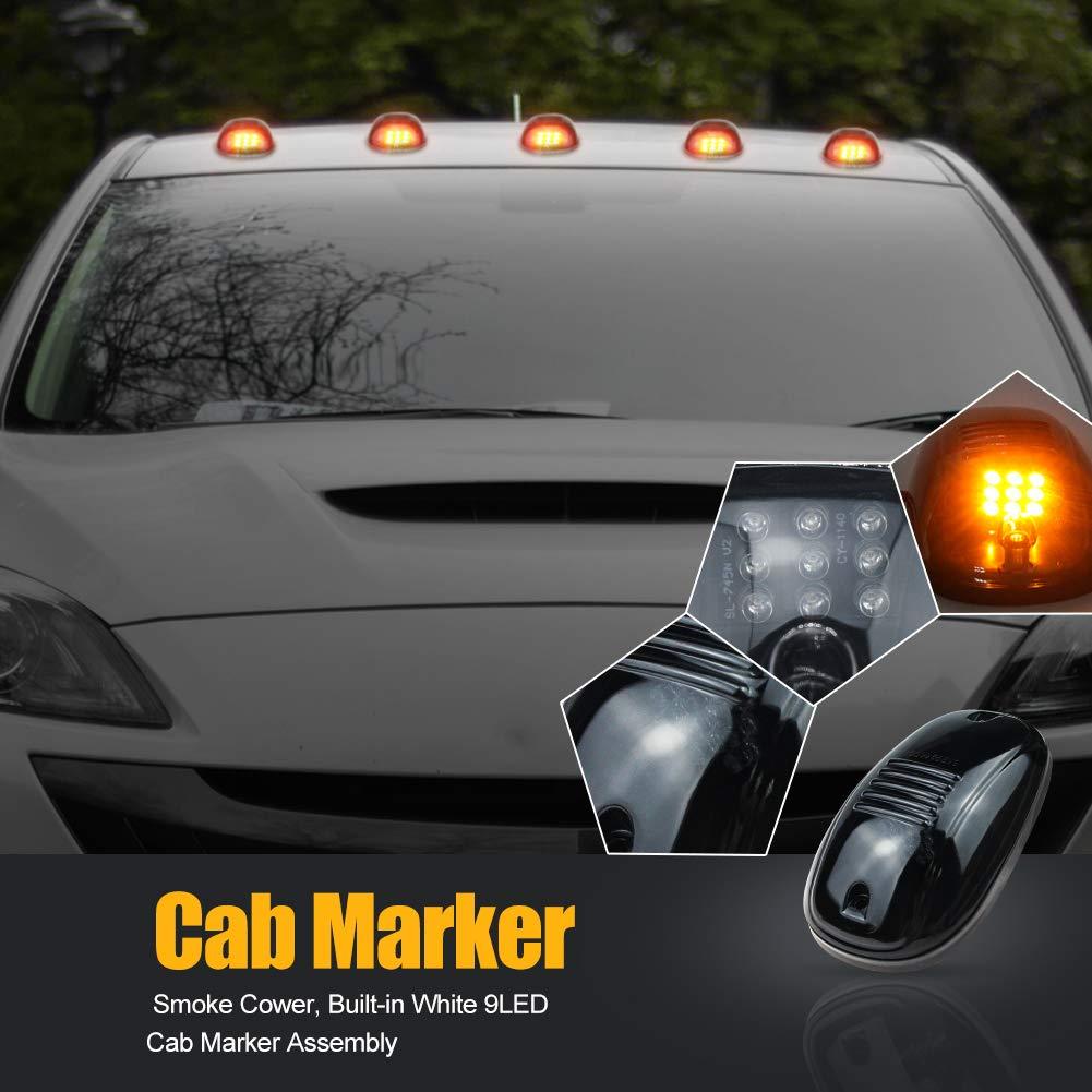 5Pcs 9LED /Ámbar Humo Lente Marcador de Cabina 12V 24V Faros de techo L/ámpara indicadora luz de circulaci/ón diurna Kit con Paquete de Cableado para D//odge Ram F//ord Truck SUV Pickup 4x4