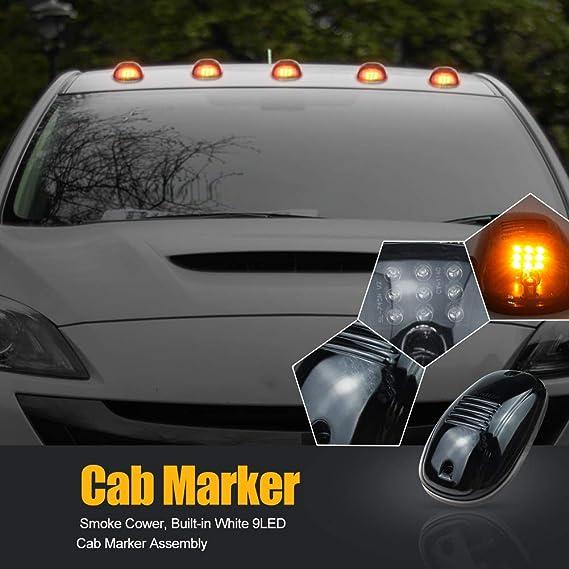 Nrpfell 5 Piezas 12-LED Luces de Marcador de Techo de Cabina de Coche para Cami/óN SUV LED 12V Negro L/áMpara de Lente Ahumada Luces Externas de Coche