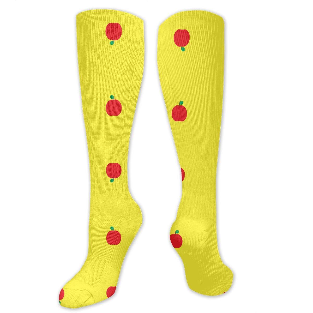 Willbegood99 Fantastic Red Apple Yellow Mens Fun Dress Socks Colorful Pattened Novelty Mid-Calf Crew Socks Premium Cotton Vibrant Art Socks