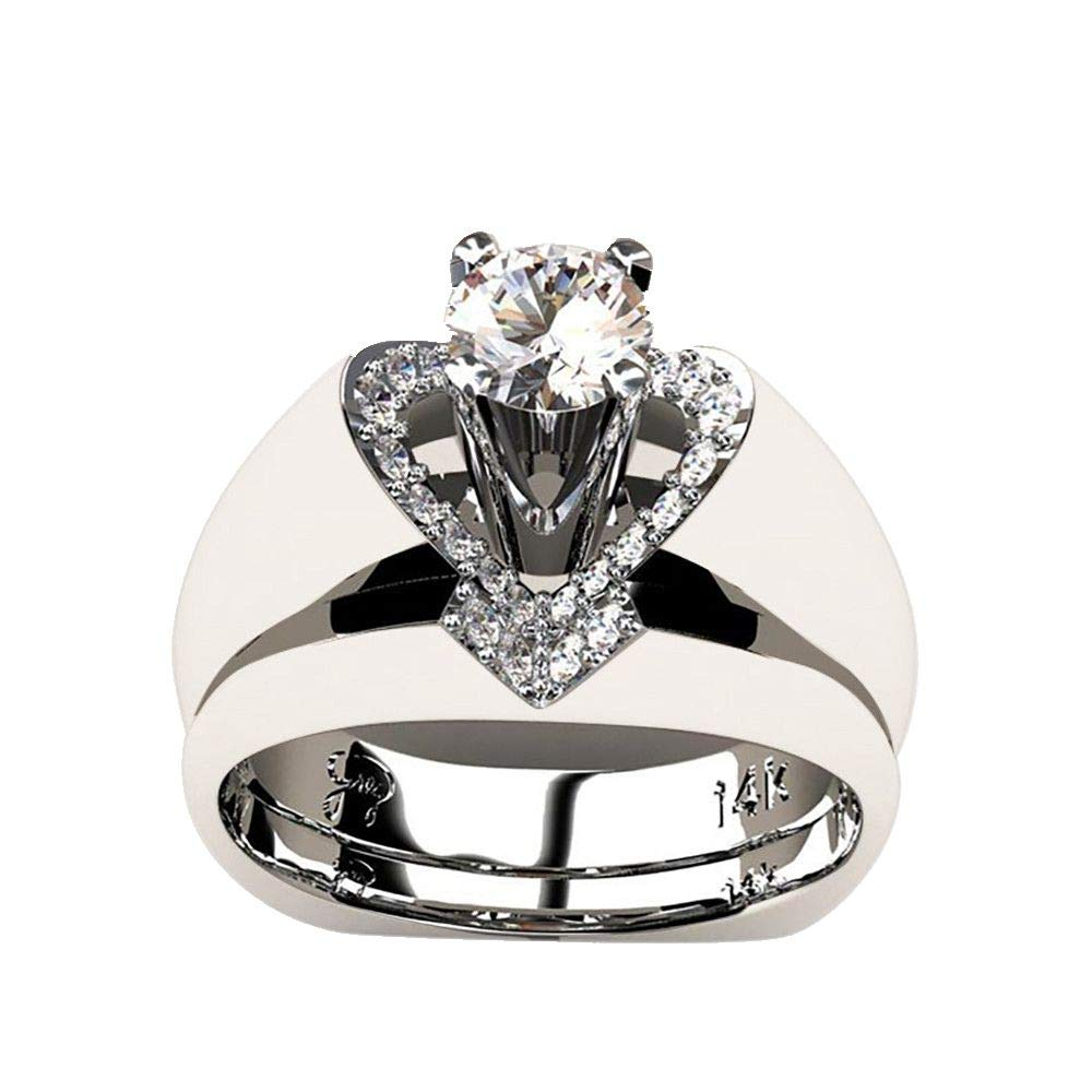 Valentine's Day Best Gift,Keepfit Women's Fashion Heart Shape Polished Wedding Rings(Silver,9)
