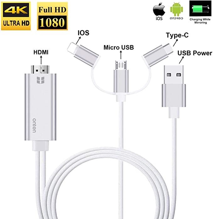 USB Female to HDMI Cable for Phone Screen To TV Cable HDMI 1080p USB Charger