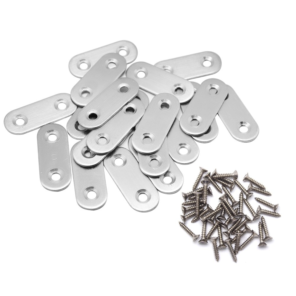 Hysagtek 20 Pcs Flat Corner Brace Plates Metal Joining Plates Connector Repair Bracket with Fixing Screws 40 X 16mm 2 Holes Stainless Steel Silver Color