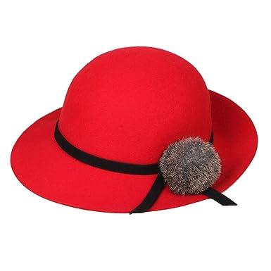 9fcc43d31d9 Jtc Wool Women Bowler Hat Lady Solid Cap Red at Amazon Women s ...
