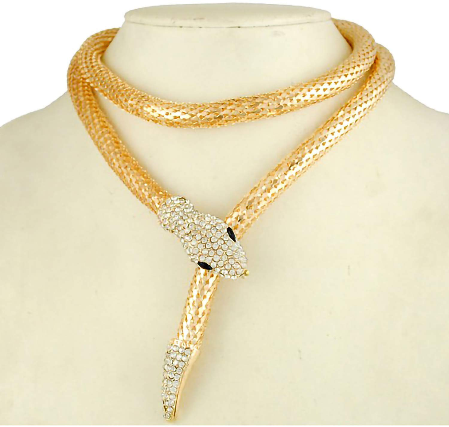 Bellady Women's Flexible Bendable Snake Jewelry Necklace Gothic Magnetic Neck Collar Choker Necklace,Gold-Long
