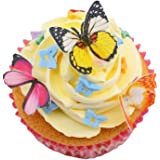 """GEORLD Set of 48 Piece 1.77"""" Edible Butterflies Cake & Cupcake Toppers Mixed Colour"""