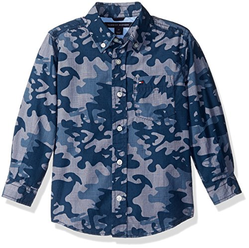 (Tommy Hilfiger Big Boys Glen Camo Printed Shirt, Flag Blue, Large)