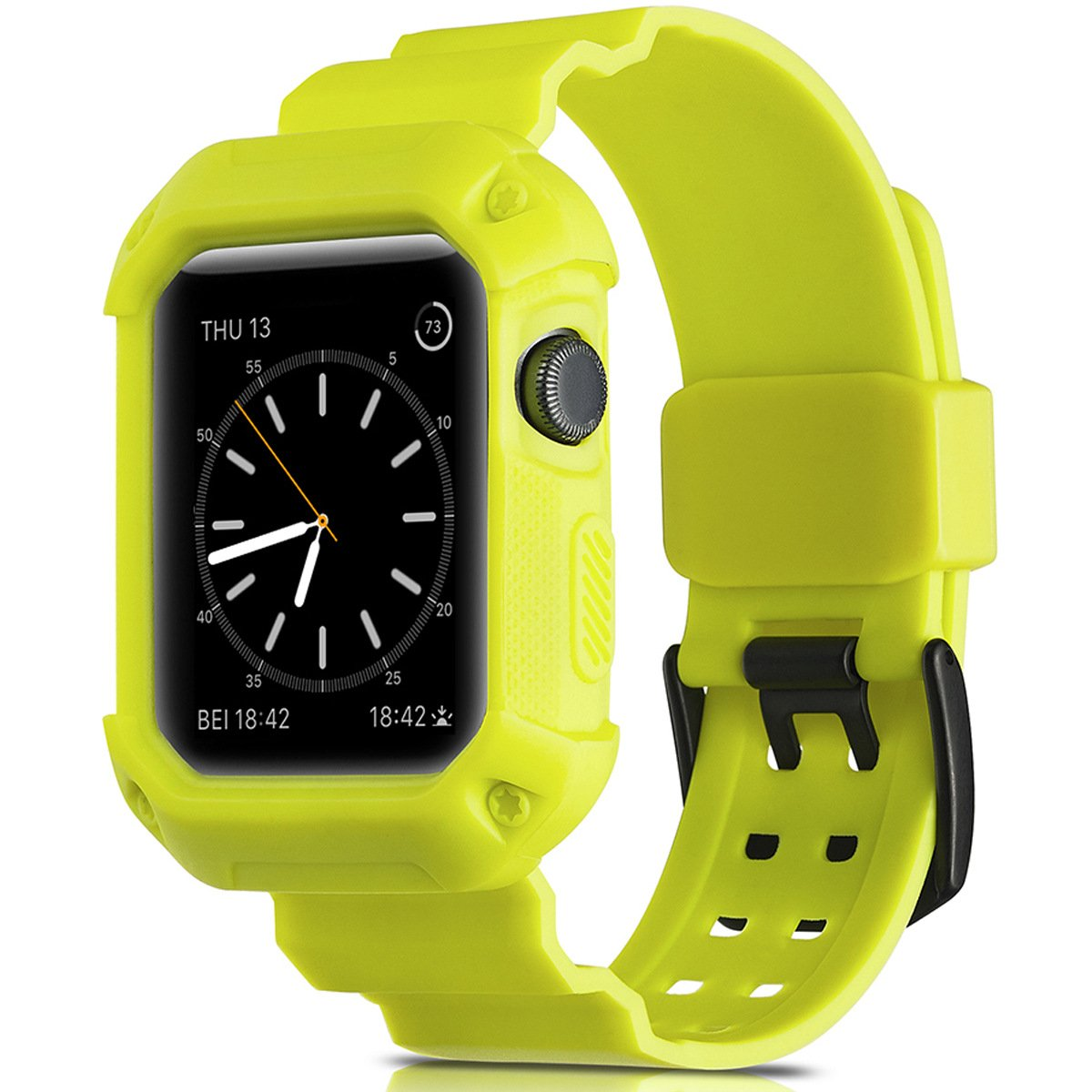 Watruer Apple Watch Bands 38mm with case, Rugged Armor Protective Bumper Case Strap Replacement for Active Style Men and Women - Yellow