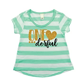 Girl First Birthday Shirt One Derful Outfit 12 Months