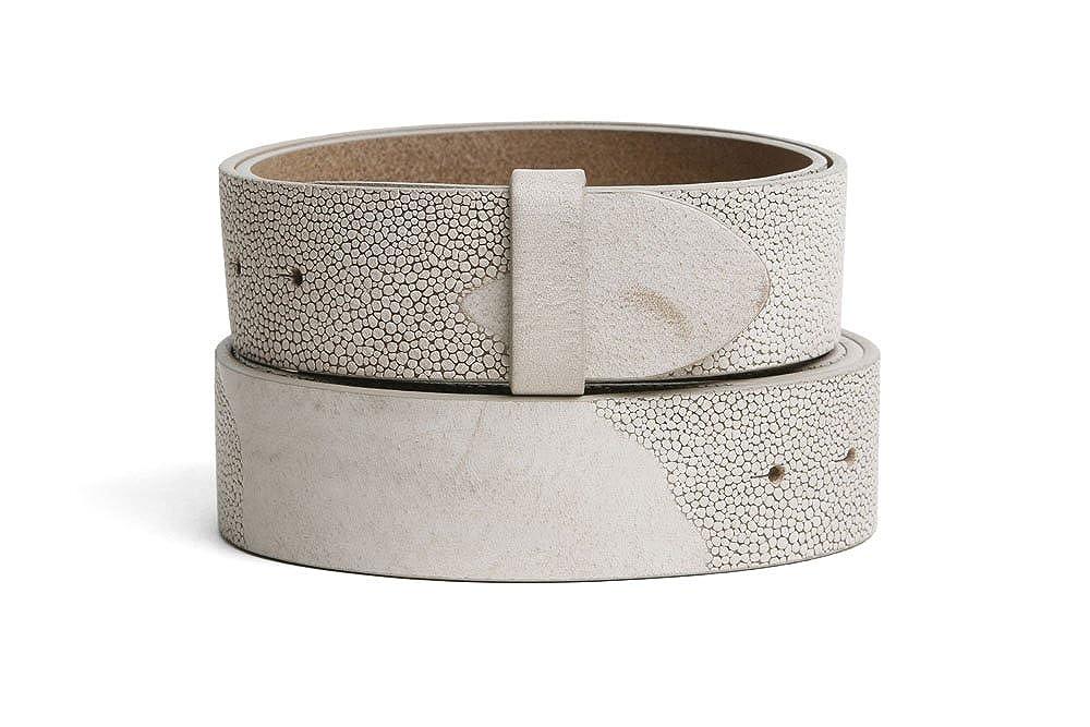 VaModa Belt, Cinturón en piel, modelo Lima, color beige, sin hebilla