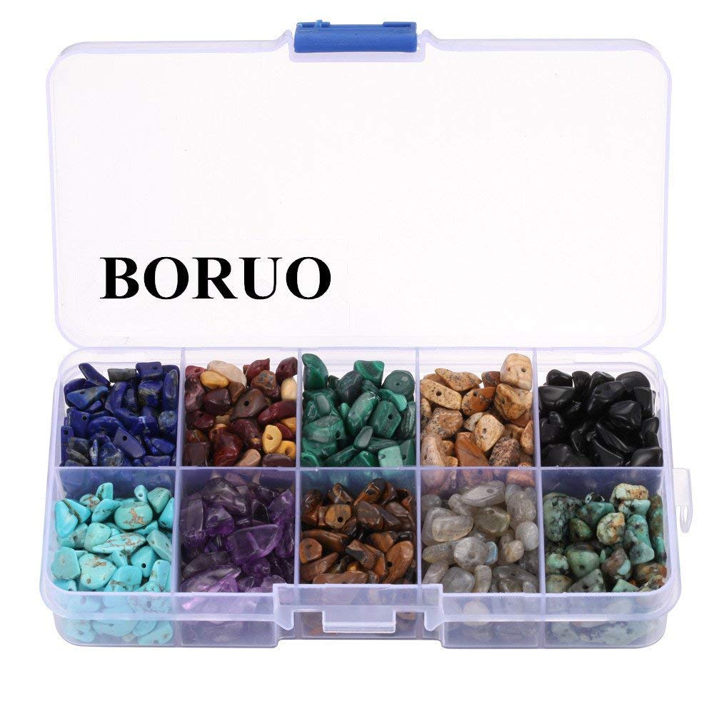 BORUO Gemstone Beads, Natural Chips Irregular 10 Color Cool Theme Assorted Box Set Loose Beads 7~8mm Crystal Energy Stone Healing Power for Jewelry Making(Plastic Box is Included)