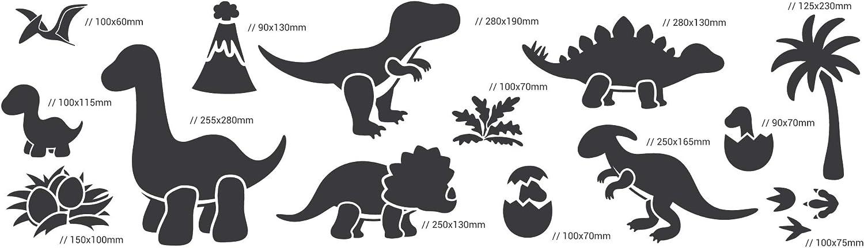 Palm Vulkan //// 34cm bis 8cm //// Kinderzimmer-Dekorarion //// Kinderzimmer-Vorlage 14 St/ück wiederverwendbare Kunststoff-Schablonen //// Dinosaurier