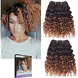 """Emmet 2pcs/lot 100g Short Wave 8Inch Brazilian Kinky Curly Human Hair Extension, with Hair Care Ebook (8"""", 1B#/30#)"""