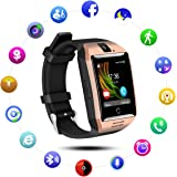 QIMAOO Q18 Smart Watch Bluetooth Sweatproof Wrist Watch Phone with Camera TF/SIM Card Slot for Android and IPhone Smartphones for Girls Boys Men Women (Black-Gold)