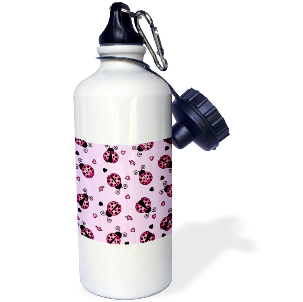 21 oz 3dRose wb/_12106/_1 Love Bugs Pink Ladybug Print with Hearts Sports Water Bottle White