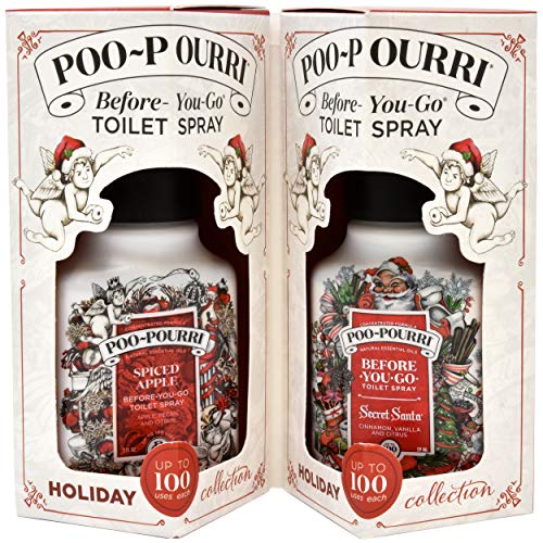 Poo-Pourri Secret Santa 2 Ounce, Spiced Apple 2 Ounce Holiday Collection Gift Set ()