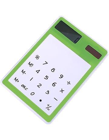 Calculadora Transparente y Táctil con Energía Solar Suministros de Escritorio Creativos(verde)