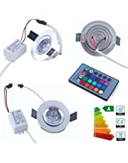 Jambo 4pcs 100-240V 3W 16 Colorful LED RGB Magic Lamp LED Recessed Ceiling Down Light Lamp+ IR Remote Control