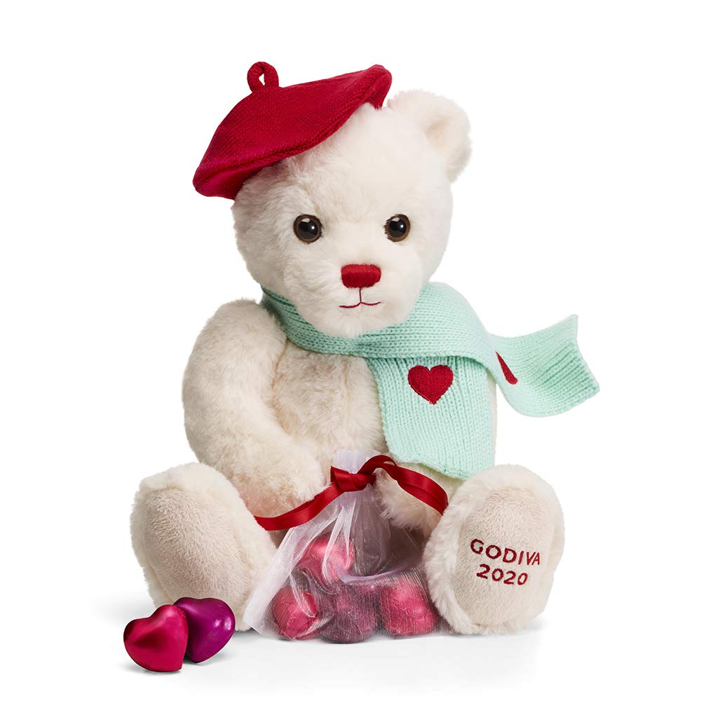 Amazon Com Godiva Chocolatier Valentine S Day 2020 Limited Edition Plush Teddy Bear With Chocolate Foil Hearts Grocery Gourmet Food