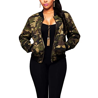 Women's Casual Camouflage Jacket with Pockets Sexy V Neck Long Sleeve Camo Coat Zipper: Clothing
