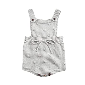 9faba4ef5564 Amazon.com   Newborn Photography Props Girl Boy Infant Baby Knitted  Overalls Romper Winter Warm Sweaters Bodysuit Jumpsuit   Baby