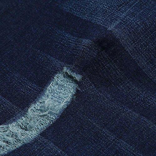 Estiramiento Talla De Moda Delgado Cintura Ajustados Mujer Fresco Oscuro Azul Casual Npradla Jeans Elegante Extra Vaqueros Rasgada Pantalones Alta Tendencia I88CPZwx